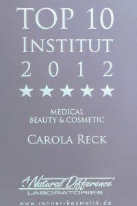 Carola Reck - Auszeichnung - Top Institut 2012